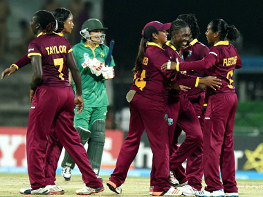West  Indies players celebrating after win over Pakistan. PTI