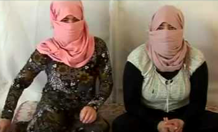 Yazidi women enslaved by ISIS. Screen grab from YouTube