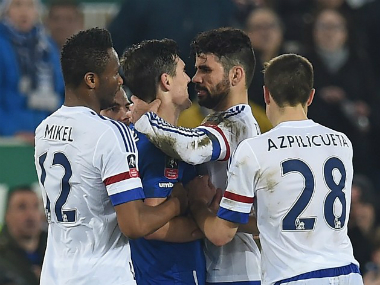 Diego Costa in altercation with Gareth Barry during Chelsea's FA Cup match against Everton. AFP