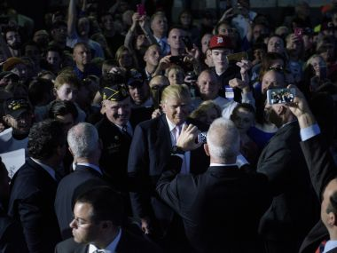 Republican front runner Donald Trump at one of his rallies on Tuesday. AFP