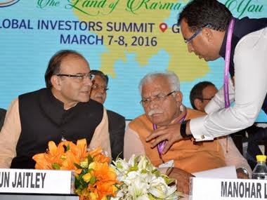 FM Jaitley at the Happening Haryana summit. PTI