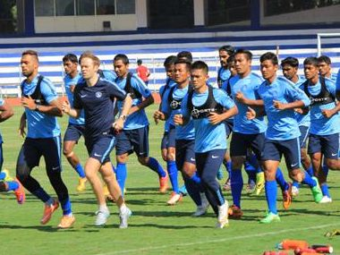 Indian football team in training. AIFF
