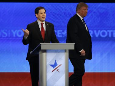 Rubio (left) has been trailing Donald Trump in the Republican primaries. Reuters