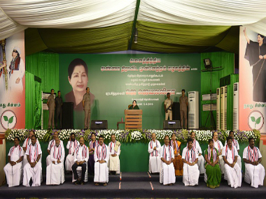 ayaram Jayalalitha (C), leader of the Anna Dravida Munnetra Kazhagam (AIADMK) state political party, addresses a campaign rally in Chennai. Getty Images