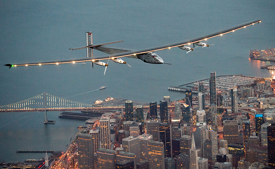The solar-powered airplane, which is attempting to circumnavigate the globe to promote clean energy and the spirit of innovation, arrived from Hawaii after a three-day journey across the Pacific Ocean. AP