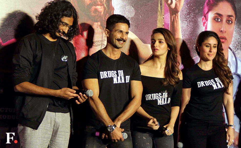Abhishek Chaubey, Shahid Kapoor, Alia Bhatt and Kareena Kapoor attend the launch of the first look of their upcoming film, Udta Punjab, in Mumbai. The film addresses the issue of rampant drug use in Punjab. Sachin Gokhale/Firstpost