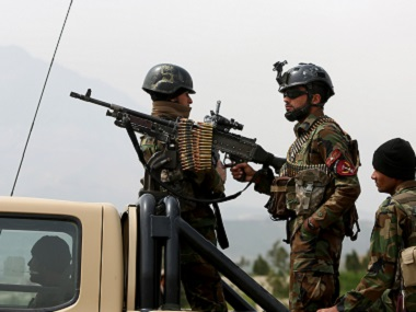 File photo of Afghan military soldiers standing guard. AP