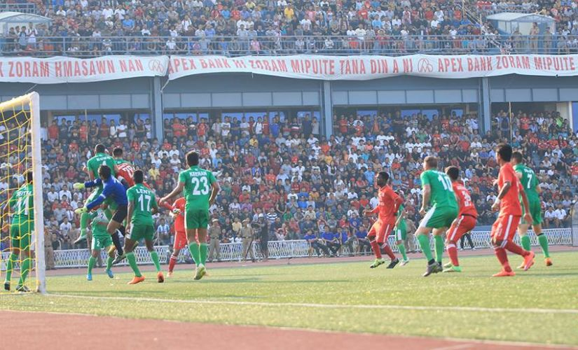 Aizawl FC in action against Salgaocar FC. Image courtesy: I-League website