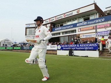 Alastair Cook of Essex walks out to bat in the first match of the County Championship. Getty Images