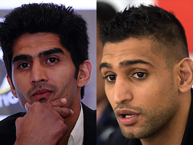 Amir Khan (right) added that Vijender Singh is the kind of talent that India had in the field of professional boxing. AFP