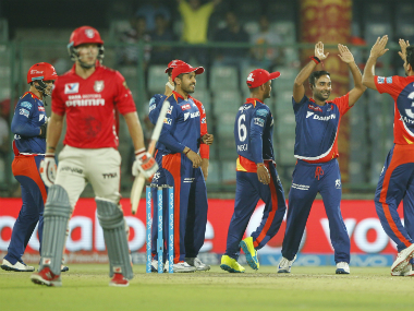 Amit Mishra (2nd from right) celebrates the wicket of KXIP captain David Miller. Sportzpics