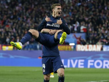 Atletico's scorer Antoine Griezmann celebrates after scoring the winner against Barcelona. AP