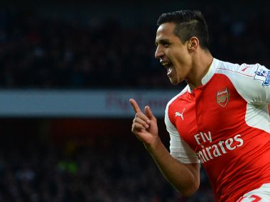 Arsenal's Alexis Sanchez celebrates after scoring against West Brom