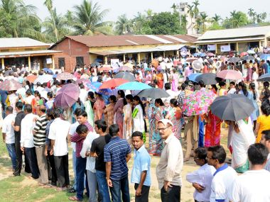 Voters in Assam thronged polling booths to cast their vote on the second and final phase of assembly election in Kamrup district on Monday. Image Courtesy: PIB