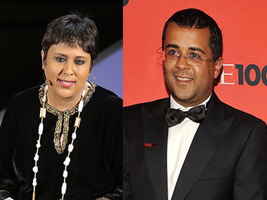 Barkha Dutt and Chetan Bhagat. Getty