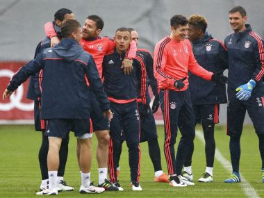 Bayern Munich players train ahead of Champions League quarter-final. AP