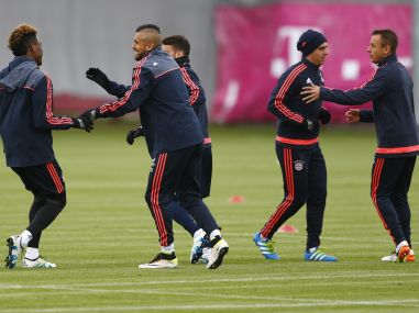 Bayern players warm up prior to the Champions League semifinal first leg. AP