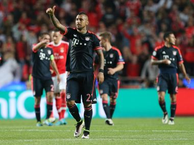 Bayern Munich's Arturo Vidal celebrates his side's goal. AP