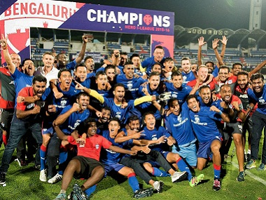 Bengaluru FC players celebrating their I-League title win. PTI