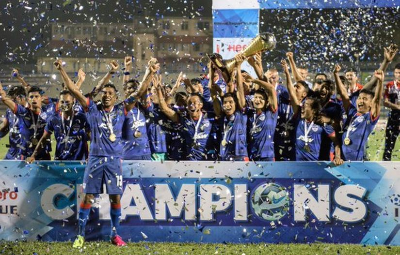 Bengaluru FC celebrate winning their second title. Image courtesy: Twitter/@bengalurufc