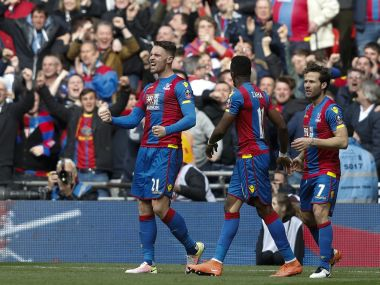 Crystal Palace's Connor Wickham celebrates during the FA Cup semi-final against Watford. AFP