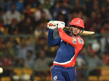Quinton De Cock of Delhi Daredevils plays a shot against Royal Challengers Bangalore. PTI