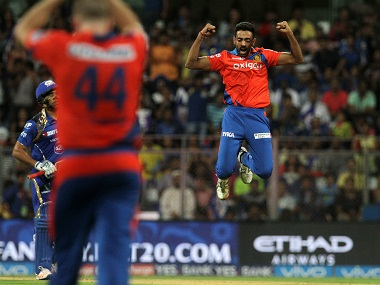 Dhawal Kulkarni celebrates the wicket of Mumbai Indians captain Rohit Sharma. BCCI
