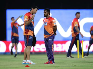 MS Dhoni captain of Pune Supergiants with coach Stephen Fleming. BCCI