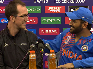 MS Dhoni with Sam Ferris. Screengrab