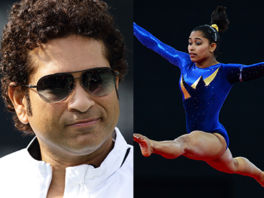 File picture of Sachin Tendulkar and Dipa Karmakar. AFP/Getty