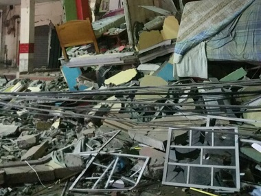 A hotelafter an earthquake in the town of Manta, Ecuador on Saturday. AP