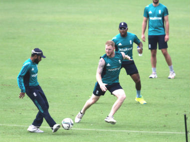 England players try a game of football ahead of the World T20 final against West Indies at Eden Gardens in Kolkata on Sunday. Solaris Images