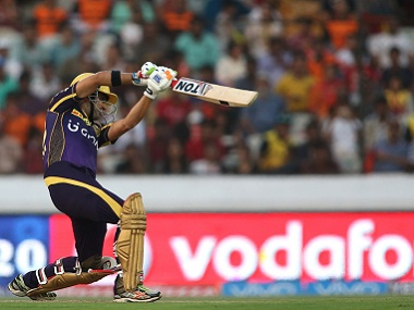 KKR captain Gautam Gambhir drives against Sunrisers Hyderabad. BCCI
