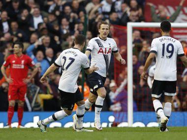 Tottenham's Harry Kane celebrates scoring their first goal. Reuters