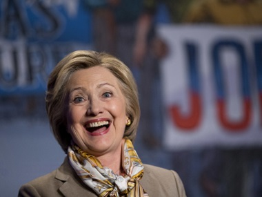 Democratic presidential candidate Hillary Clinton smiles after speaking at the 2016 Legislative Conference of North America's Building Trades Unions in Washington on Tuesday. AP