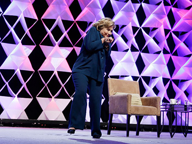 File image of Hillary Clinton ducking a show in April 2014. AFP