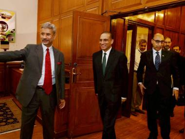 New Delhi: Foreign Secretary S Jaishankar and his Pakistani counterpart Aizaz Ahmad Chaudhry before a meeting at South Block in New Delhi on Tuesday. Pakistan's High Commissioner to India Abdul Basit (R)is also seen. PTI Photo by Atul Yadav(PTI4_26_2016_000022B)