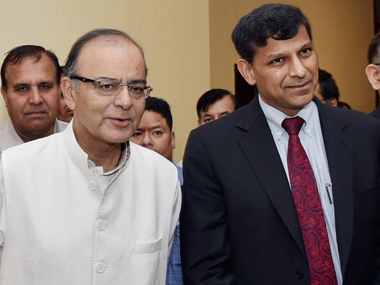 Finance minister Arun Jaitley and RBI governor Raghuram Rajan, PTI