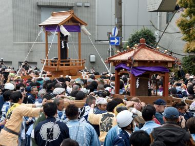 Believers of the Wakamiya Hachimangu Shrine carry portable shrines bearing phalluses . AFP