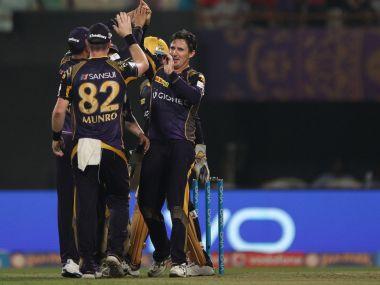 KKR celebrate a fall of wicket. IPL