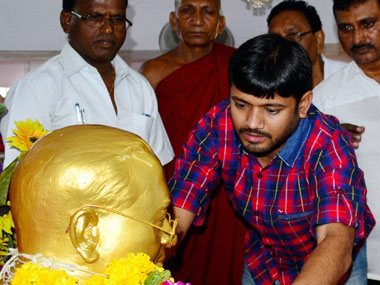 NUSU President Kanhaiya Kumar paying tribute to BR Ambedkar at Chaitya Bhoomi in Mumbai on Saturday. PTI