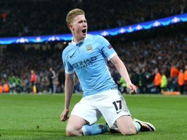 Kevin De Bruyne celebrates his goal. AP