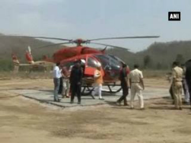 Harayana Chief Minister Manohar Lal Khattar's copter landing on the makeshift helipad. ANI