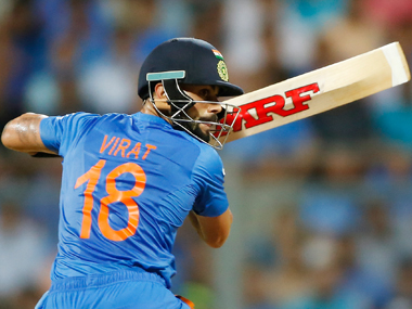Virat Kohli during his knock against the West Indies at the Wankhede on Thursday. AP