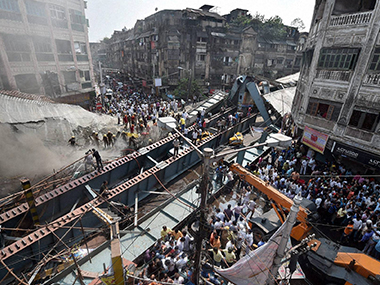 Site of the collapse in Kolkata. PTI