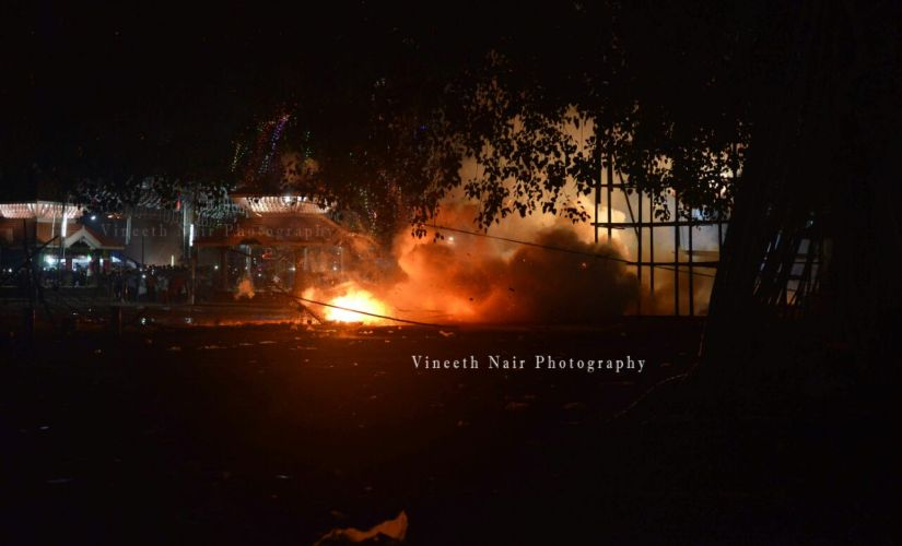 At 3.30 am on Sunday, fireworks blast occurred in Puttingal temple in Kerala. Photos/Vineeth Nair