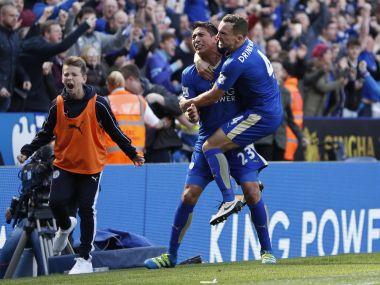 Leicester City's Leonardo Ulloa celebrates late equaliser against West Ham. AFP