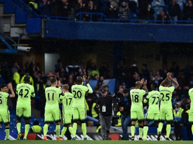Manchester City players after their Premier League match against Chelsea. AFP