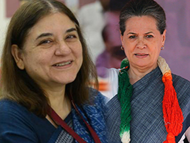 Maneka Gandhi and Sonia Gandhi. PTI