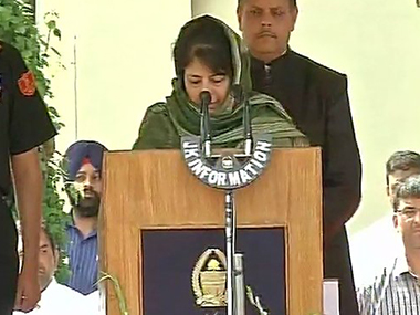 Mehbooba Mufti takes oath as J&K chief minister. ANI